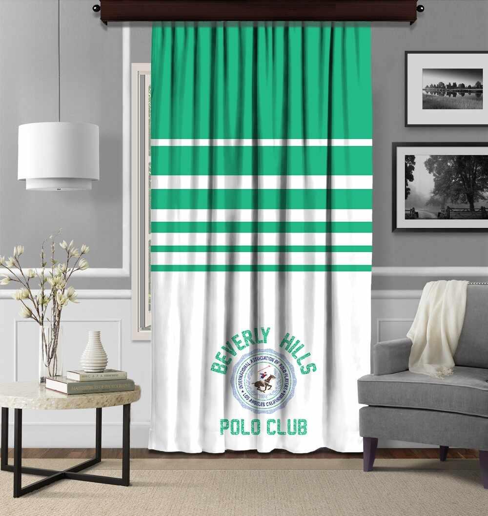 Draperie Beverly Hills Polo Club Crt 11-1 Verde / Alb, 140 x 260 cm la pret 155 lei