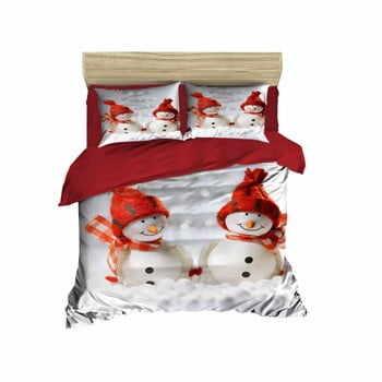 Lenjerie de pat cu cearșaf Christmas Snowmen, 200 x 220 cm la pret 300 lei
