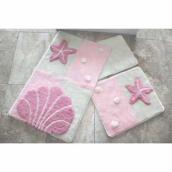 Set 3 covoare baie Knit Knot, roz deschis la pret 235 lei