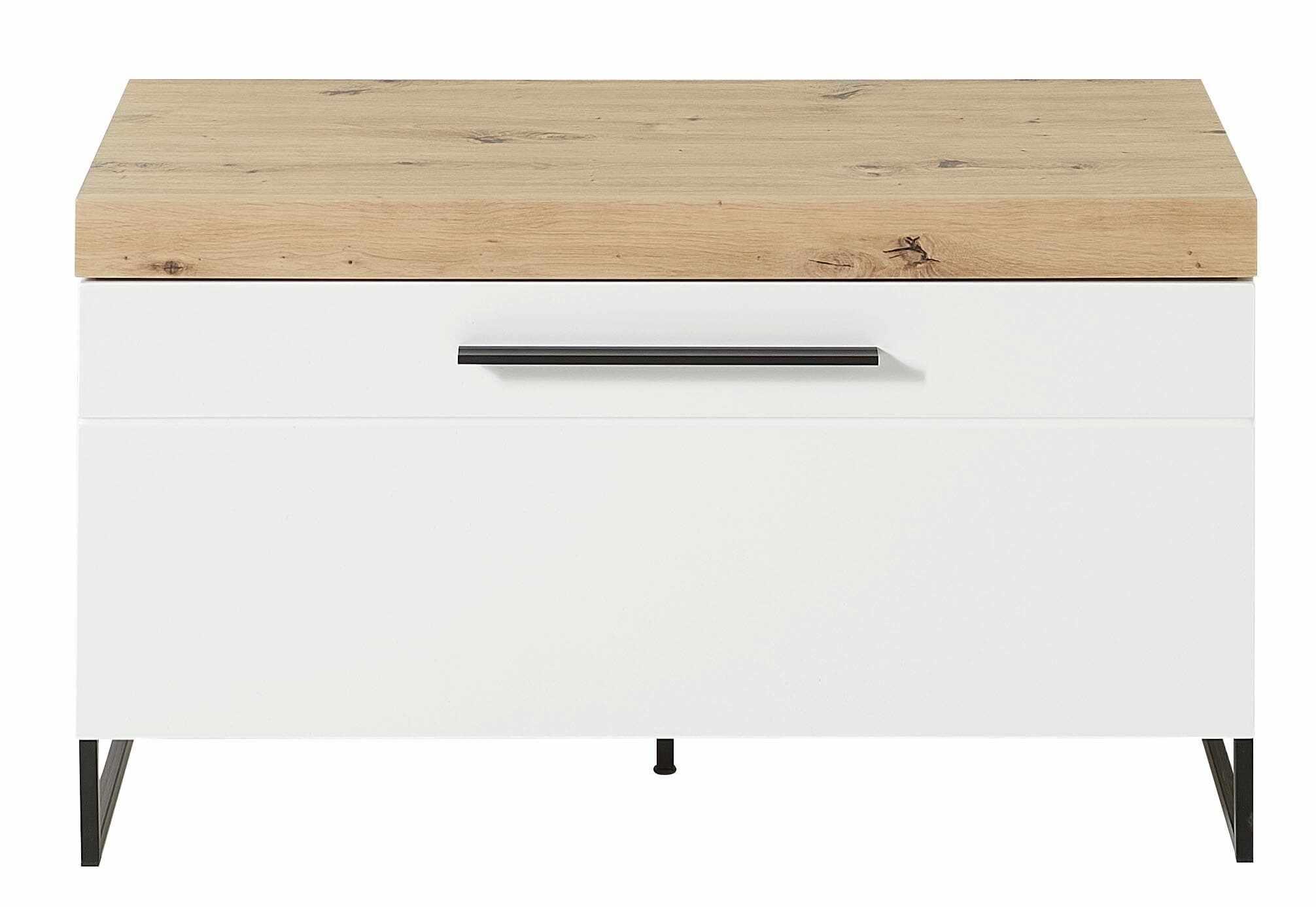 Cabinet din MDF cu 1 usa Loftis Alb / Stejar, l96xA44xH55 cm la pret 860 lei