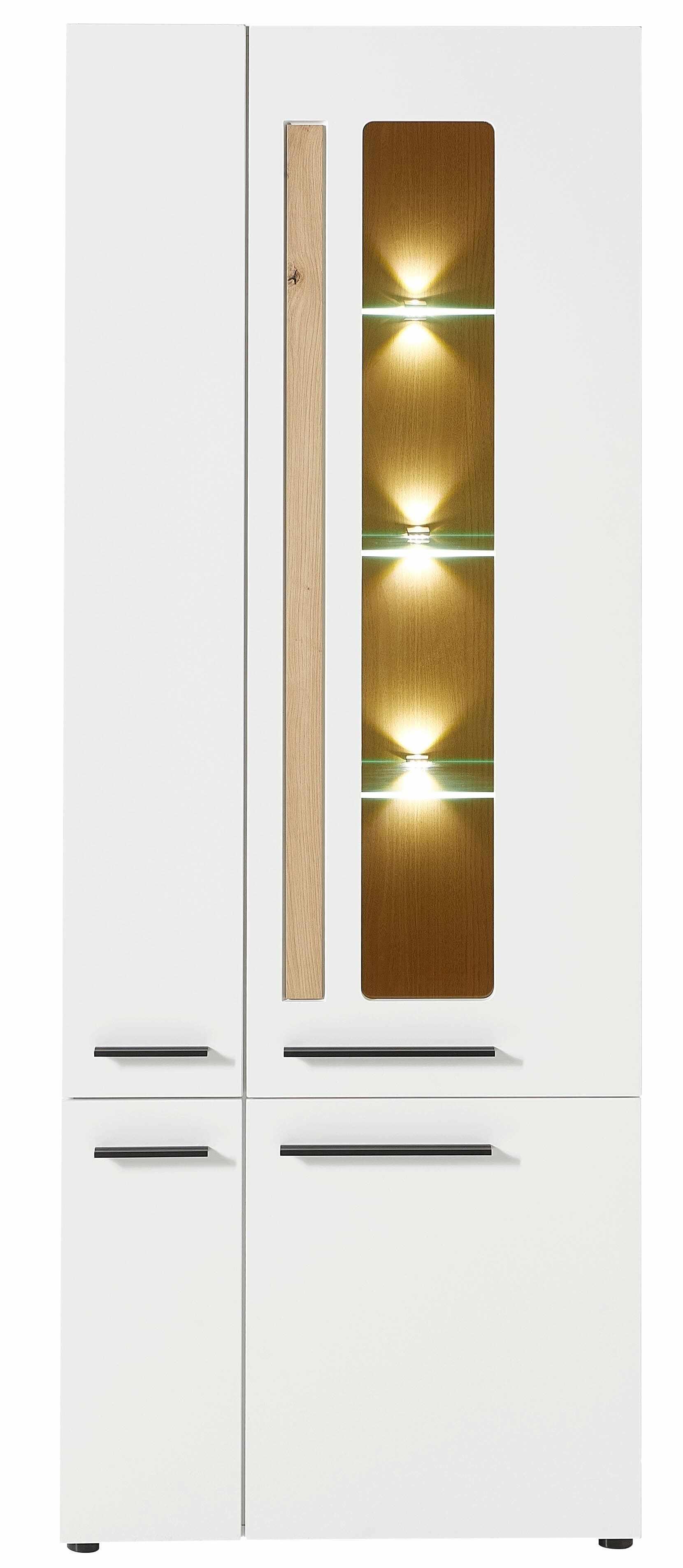 Vitrina din MDF, cu 4 usi si LED inclus Loftis Alb / Stejar, l76xA37xH201 cm la pret 2249 lei