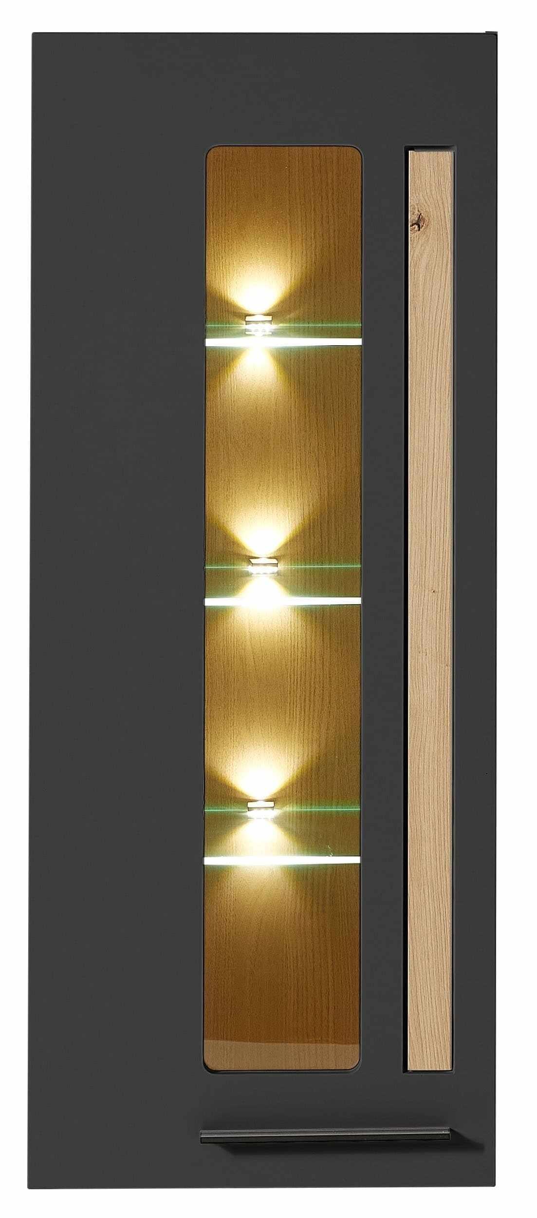 Vitrina suspendata din MDF, cu 1 usa si LED inclus Loftis Grafit / Stejar, l52xA37xH128 cm la pret 1246 lei