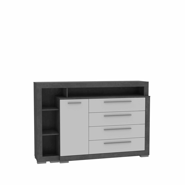 Comoda din pal, cu 4 sertare si 1 usa Jelte Gri Inchis / Alb, l161,8xA42xH107,4 cm la pret 2003 lei