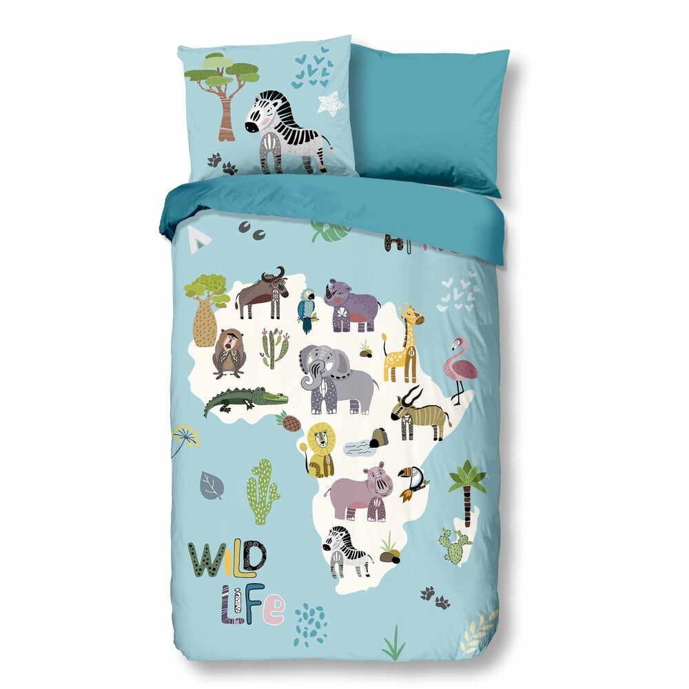 Lenjerie de pat din bumbac pentru copii Good Morning Wild Life, 140 x 200 cm la pret 209 lei