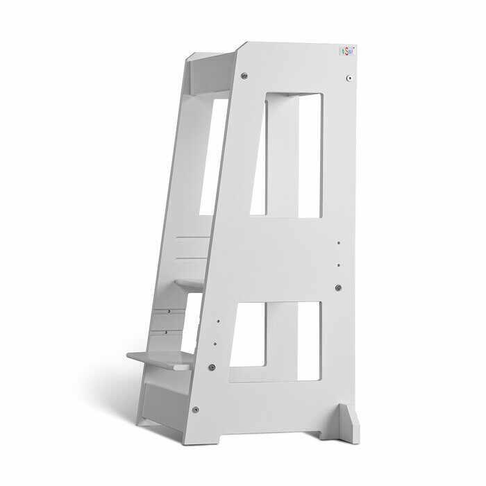 Scaun reglabil pentru copii, lemn masiv, alb, 40 x 81 x 39 cm la pret 391.5 lei