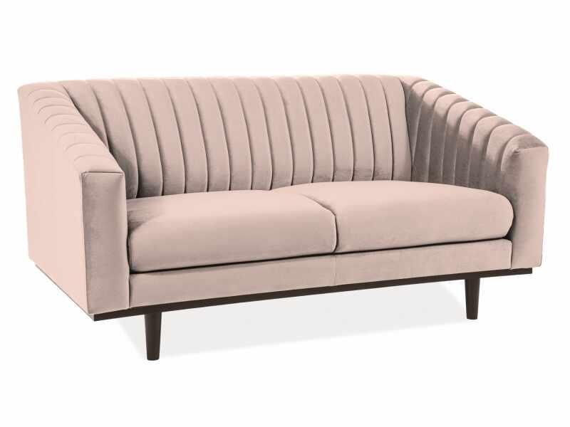 Canapea fixa tapitata cu stofa, 2 locuri Asprey 2 Velvet Bej / Wenge, l150xA85xH76 cm la pret 2332 lei