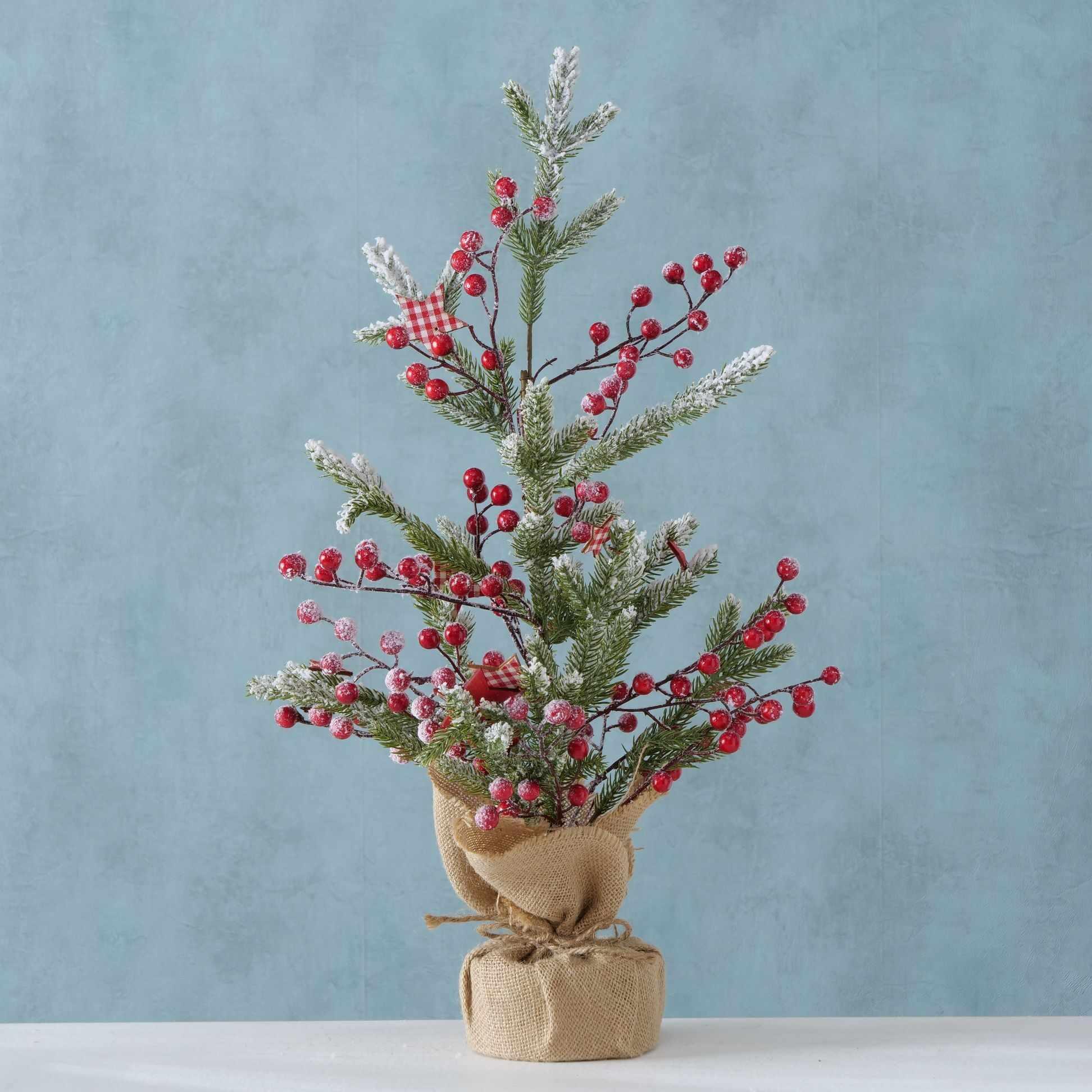 Bradut decorativ de Craciun Jolia Verde / Rosu, L20xl18xH60 cm la pret 161 lei