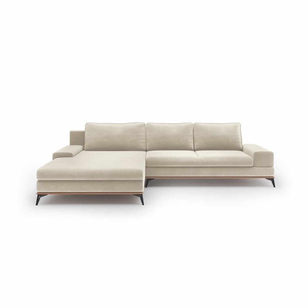 Colțar extensibil cu tapițerie de catifea și șezlong pe partea stângă Windsor & Co Sofas Astre, bej la pret 7349 lei