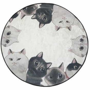 Covor baie Lismo Cats, ⌀ 100 cm, alb - gri la pret 154 lei