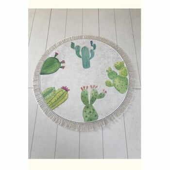 Covor baie Tropica Cactus I, ⌀ 100 cm, alb - verde la pret 154 lei