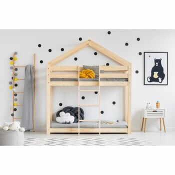 Cadru pat supraetajat din lemn de pin, în formă de căsuță Adeko Mila DMP, 90 x 200 cm la pret 2072 lei