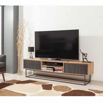 Comodă TV cu uși gri Industrio, lungime 180 cm la pret 1621 lei