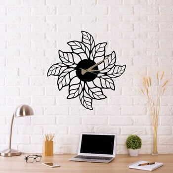 Ceas de perete Glozis Leaves Clock, ⌀ 48 cm, negru la pret 277 lei