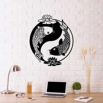 Decorațiune metalică de perete Fish Yin Yang, 70 x 50 cm, negru la pret 220 lei