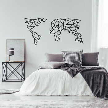 Decorațiune metalică de perete Geometric World Map, 150 x 80 cm, negru