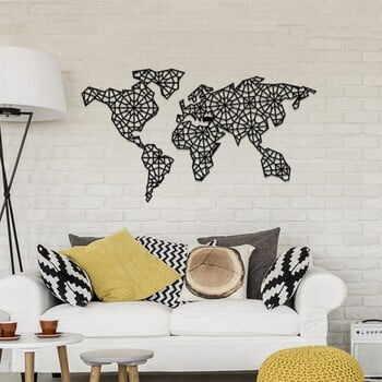 Decorațiune metalică de perete The World Is Mine, 120 x 64 cm, negru la pret 520 lei