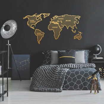 Decorațiune metalică pentru perete World Map In The Stripes, 150 x 80 cm, auriu