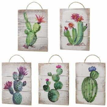Set 5 decorațiuni de perete din lemn Unimasa Cactus la pret 151 lei