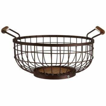 Coș metalic cu mânere din lemn pentru fructe Premier Housewares, arămiu la pret 159 lei