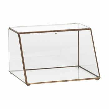 Cutie depozitare din sticlă cu detalii din alamă Hübsch Dulio, înălțime 19 cm la pret 502 lei