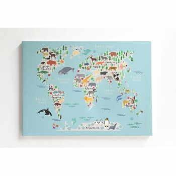 Tablou pe pânză Little Nice Things Mapamundi, 50 x 70 cm la pret 222 lei