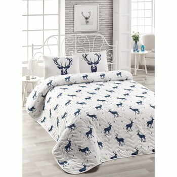 Set cuvertură pat și 2 fețe de pernă din amestec de bumbac Geyik Dark Blue, 200 x 220 cm la pret 158 lei
