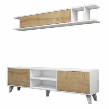 Set masă TV și poliță perete cu detalii în decor de lemn de pin Muzzo Italo, alb la pret 1050 lei