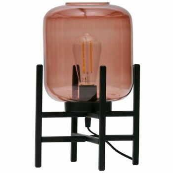 Veioză cu abajur din sticlă WOOOD Abel, roz-negru la pret 192 lei