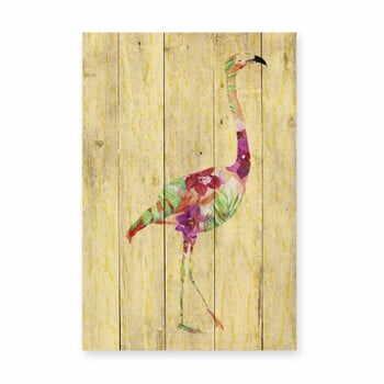 Decorațiune din lemn de pin pentru perete Madre Selva Flowers Flamingo, 60 x 40 cm la pret 240 lei