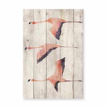 Decorațiune din lemn de pin pentru perete Madre Selva Flying Flamingo, 60 x 40 cm la pret 219 lei