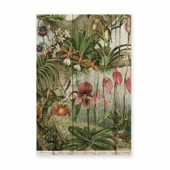 Decorațiune din lemn de pin pentru perete Madre Selva Jungle Flowers, 60 x 40 cm la pret 222 lei