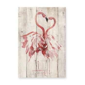 Decorațiune din lemn de pin pentru perete Madre Selva Love Flamingo, 60 x 40 cm la pret 222 lei