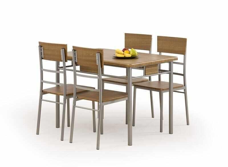 Set masa din MDF si metal + 4 scaune Natan Walnut, L110xl70xH75 cm la pret 689 lei