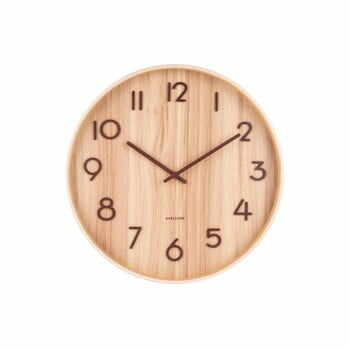 Ceas de perete din lemn de tei Karlsson Pure Medium, maro deschis, ø 40 cm la pret 298 lei