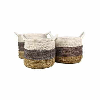 Set 3 coșuri depozitare HSM collection Raffia Natural White la pret 397 lei