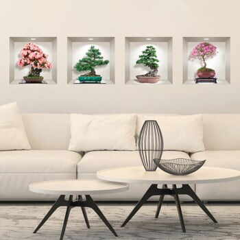 Set 4 autocolante 3D pentru perete Ambiance Bonsai of Seasons