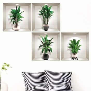 Set 4 autocolante 3D pentru perete Ambiance Exotic Palm Leaves